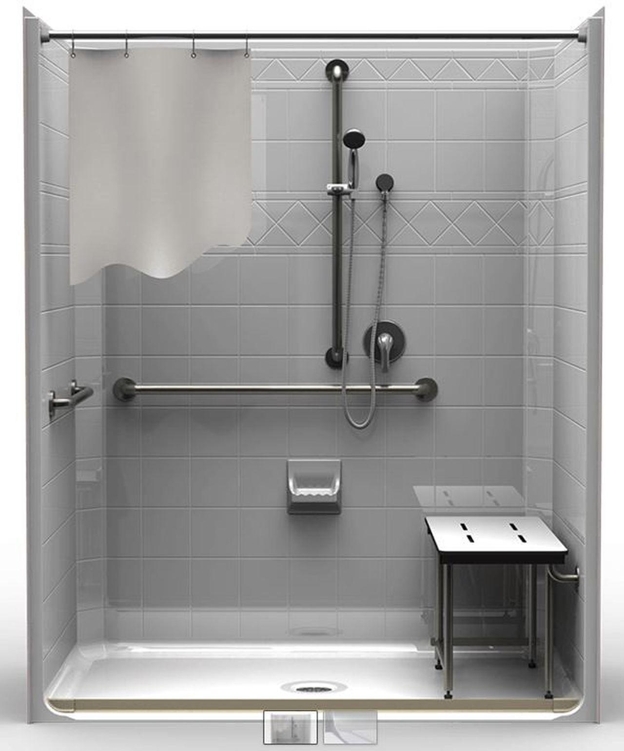 5 Piece ADA RollIn Shower With Center Drain Fiberglass
