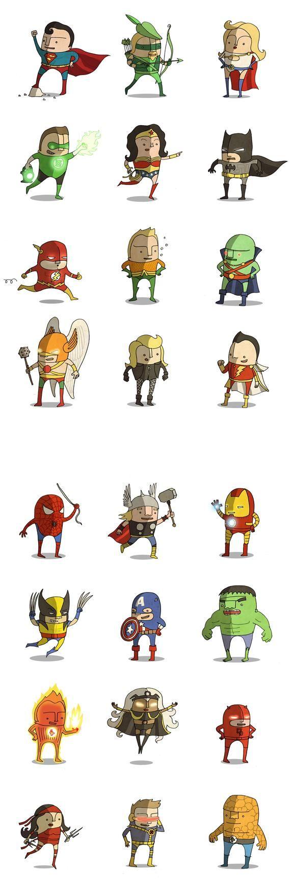 Super Y Cartoon Characters : Graciosas mini caricaturas de superhéroes marvel y dc