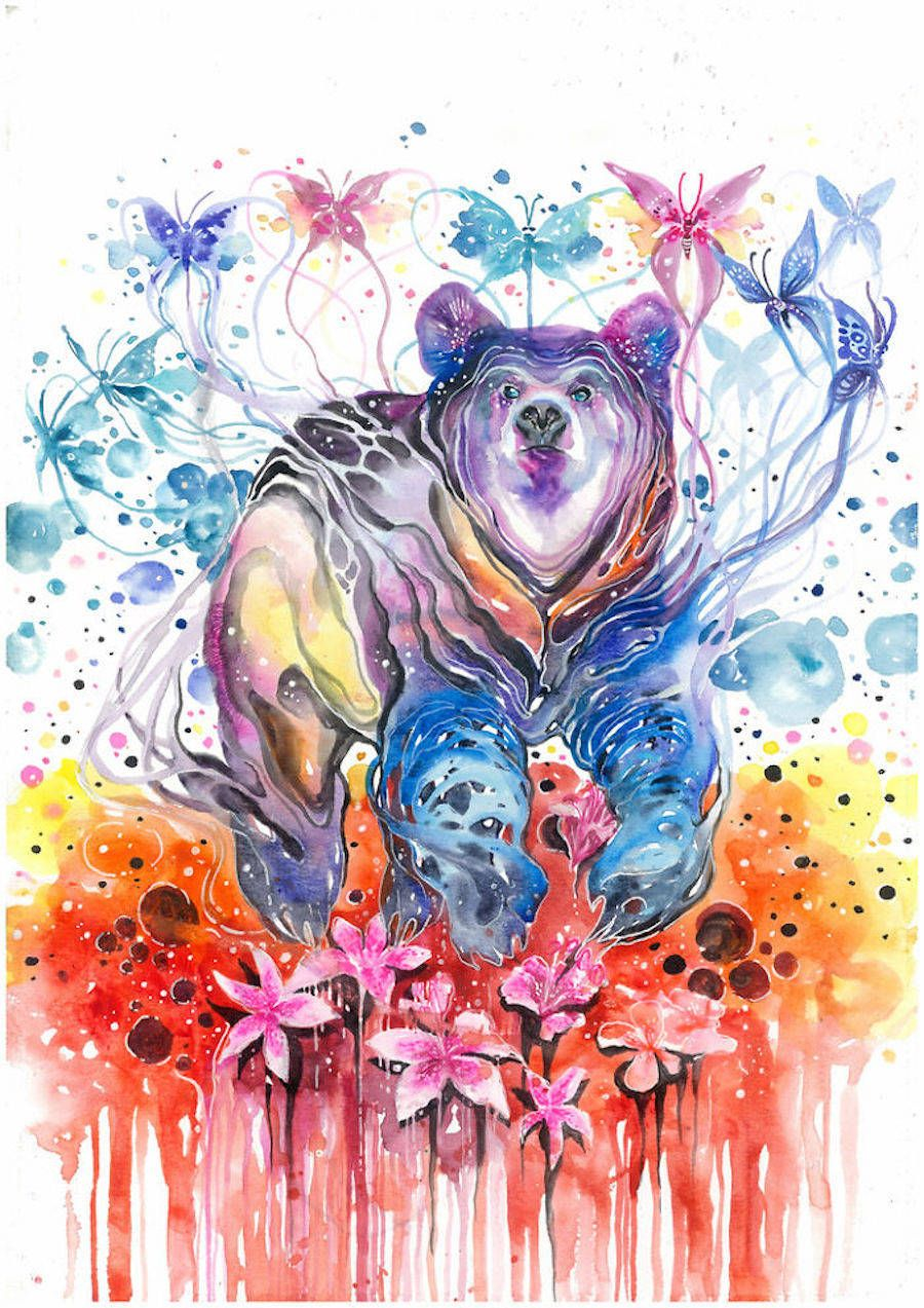 Colorful Splashed Watercolor Animals Paintings Animal Paintings