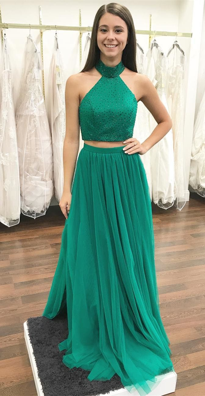 two piece long prom dress, green long prom dress, 2018 prom dress ...