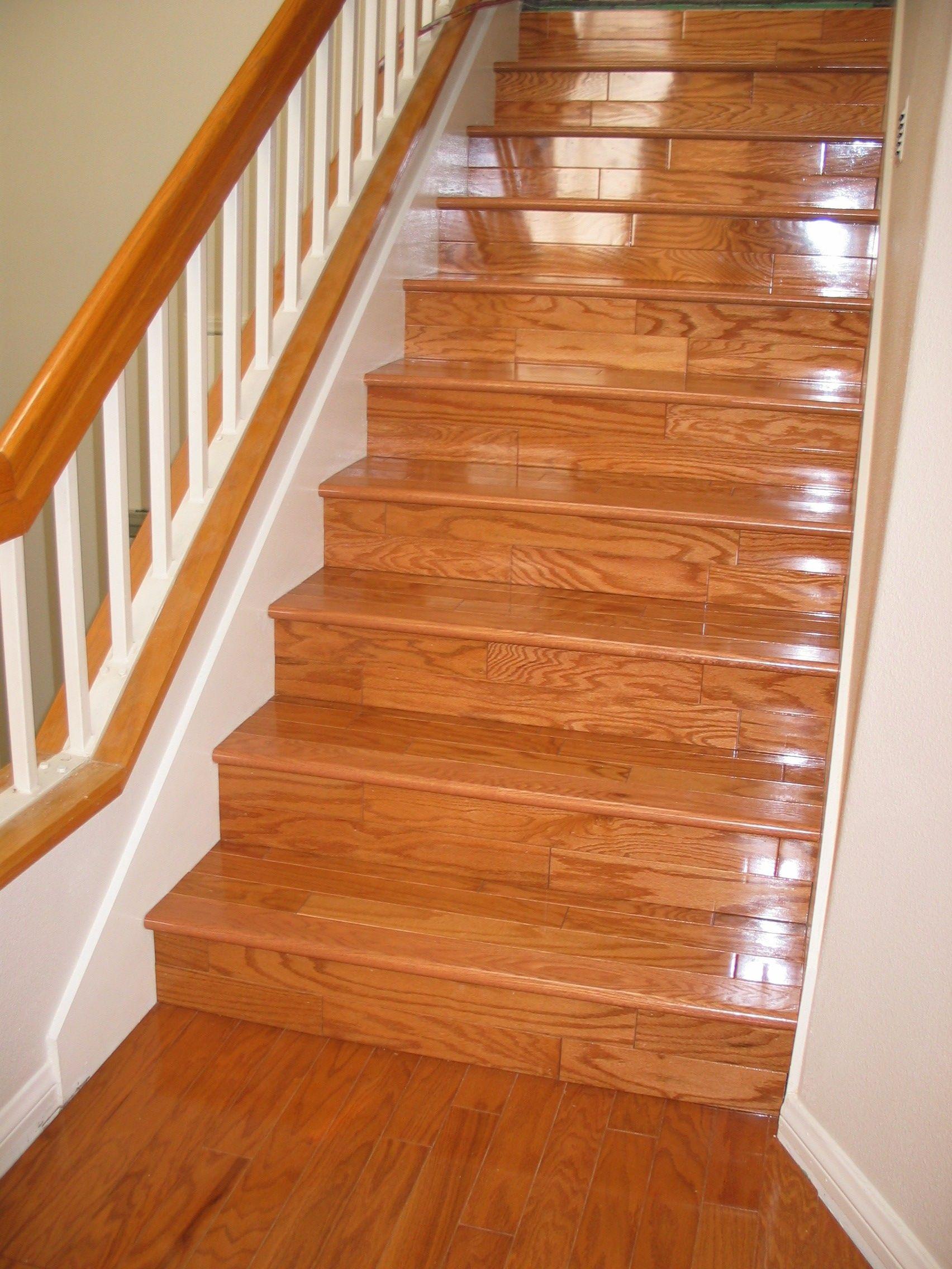 Rich Johnson Flooring Installations And Repairs Laminate   Installing Hardwood On Stairs   Tile Riser White Landing Tread   Combined Wood   Brazilian Cherry Hardwood Stair   Cream Wood   Bottom Stair