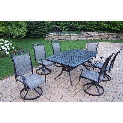 Cascade 7-Piece Aluminum/Sling Swivel Rectangular Patio Dining Furniture Set - Target - $2,496.59
