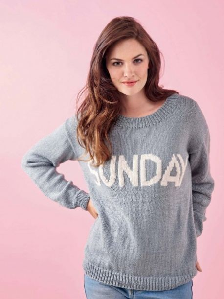 Embroidered Sunday Slogan Sweater