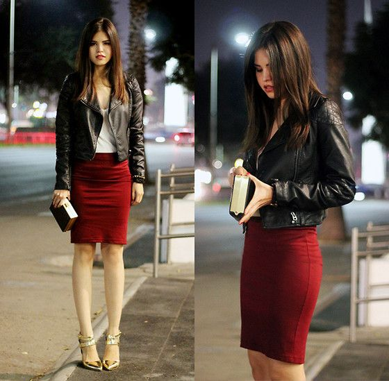 Leather Jacket, Camisole, Wine Pencil Skirt, Windsor Gold Strappy ...