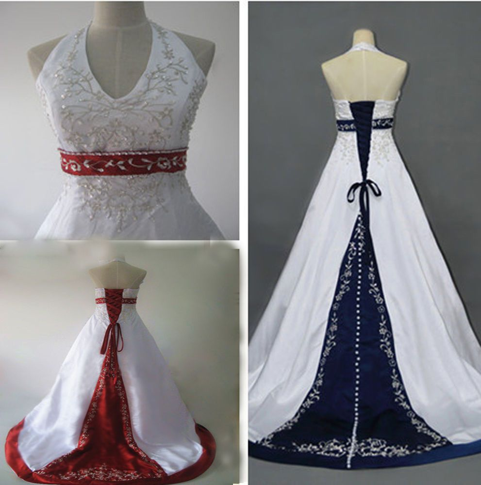 2018 New White And Red Embroidery Wedding Dresses Bridal Gowns stock size