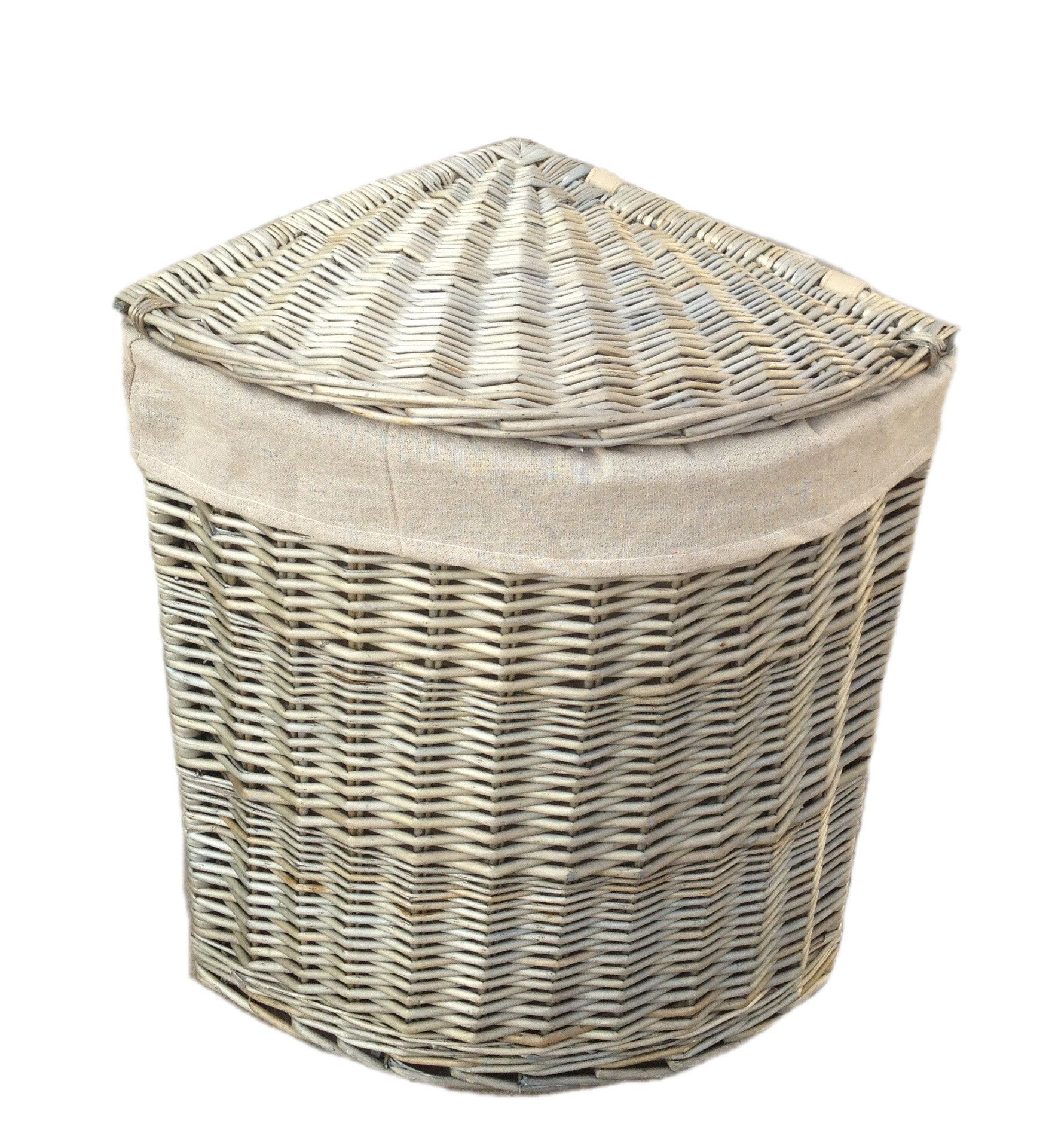 Grey Corner Antique Wash Wicker Laundry Basket