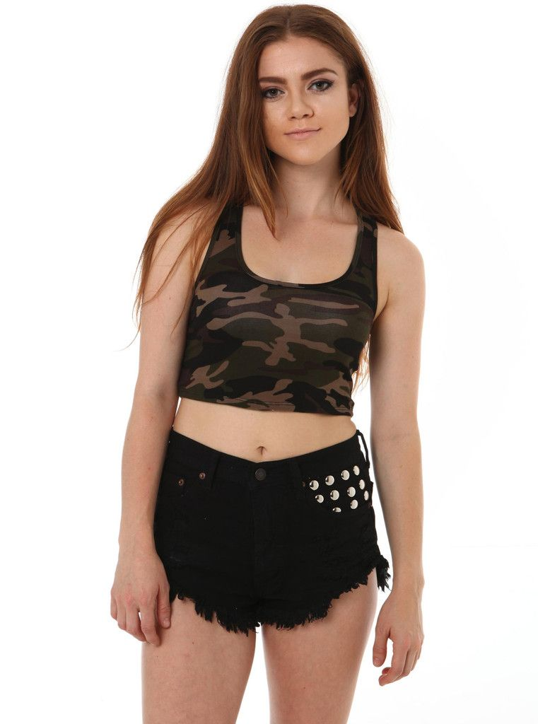 Camo Crop Top with distressed shorts