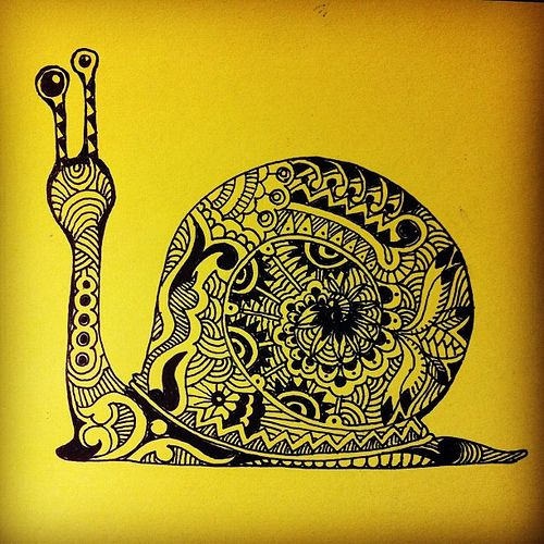 Pretty, But slowly, slowly! #snail #zentangles