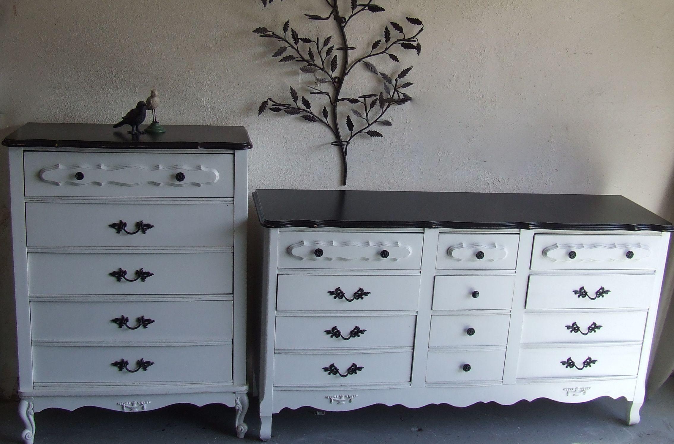 cute white black cottage french provincial dresser reborn from ugly faded vintage gold. Black Bedroom Furniture Sets. Home Design Ideas