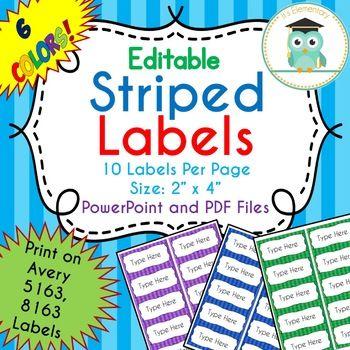 striped labels editable classroom notebook folder rainbow avery