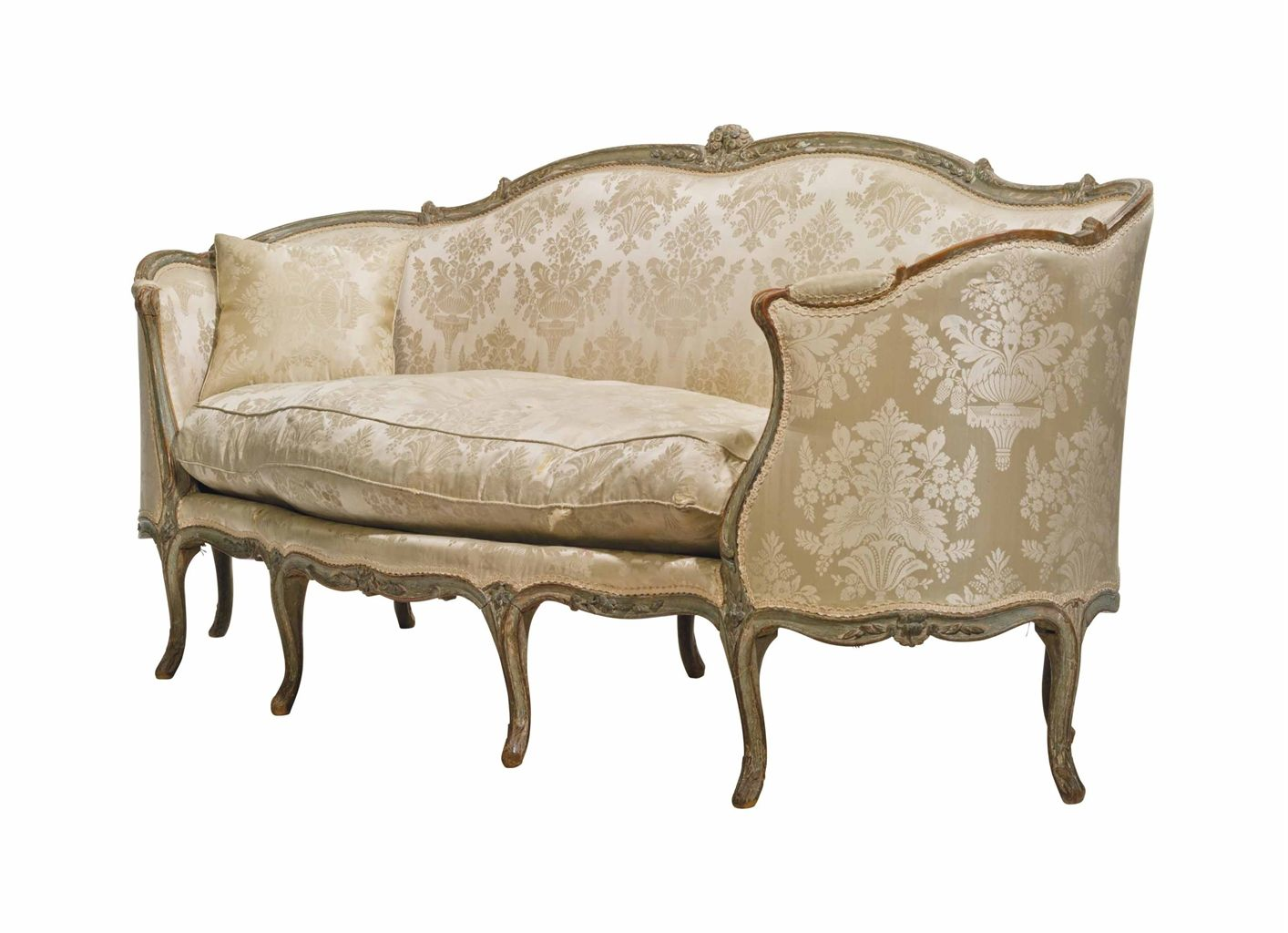 A louis xv pale blue decorated canape en corbeille mid for Louis xv canape sofa