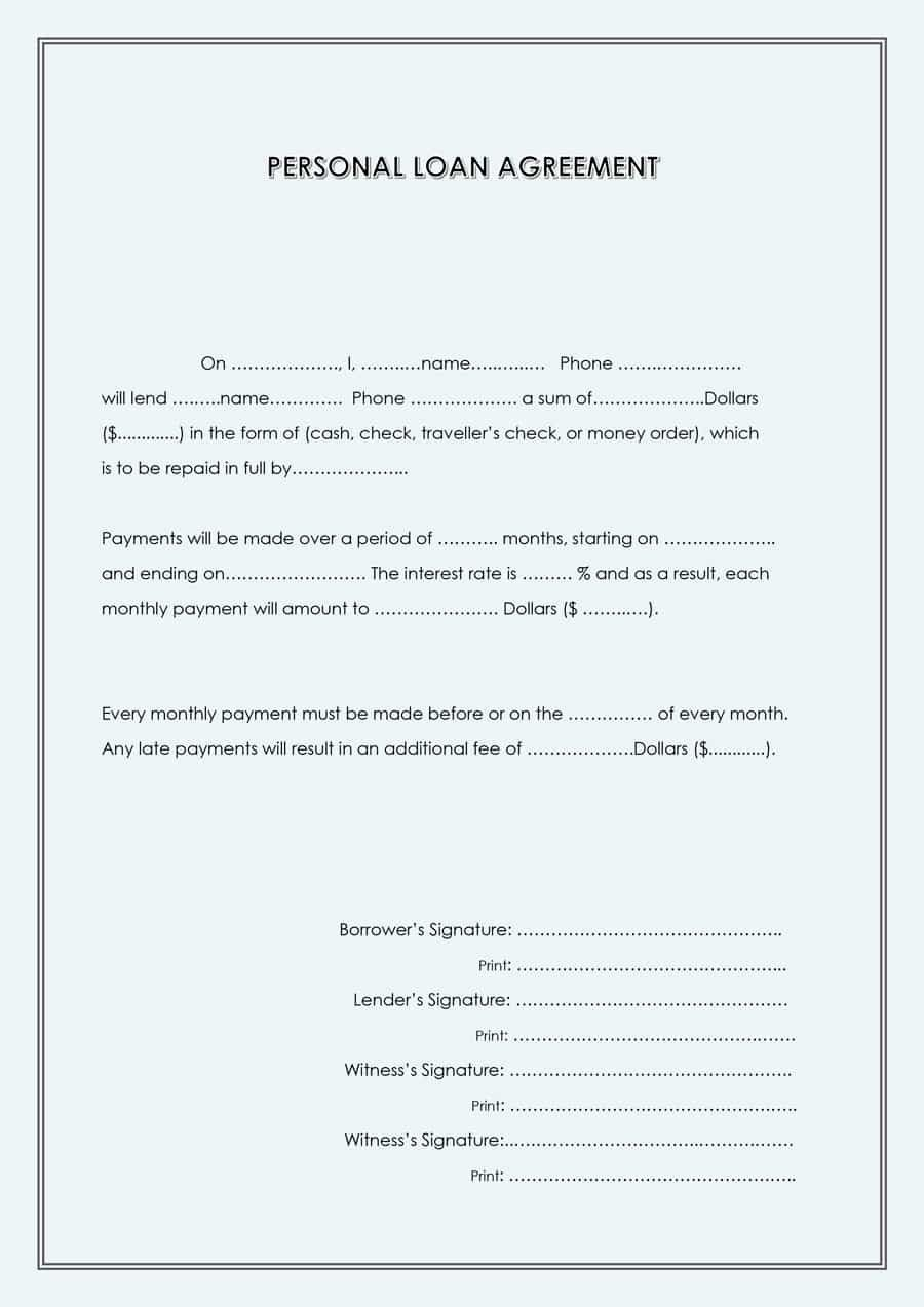Personal Loan Application Form Template Beautiful 40 Free Loan Agreement Templates Word Pdf Template Lab Personal Loans Contract Template Loan Personal loan agreement template word