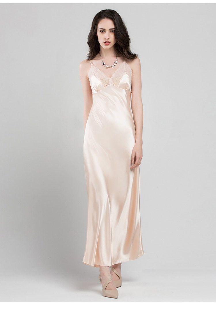 7b6e82817d615 Bride Bridesmaids Long Silk Slip Gown Nightgown Backless Sling Sleeveless  V-neck