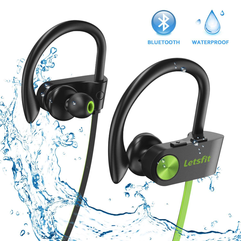 c121177f134 Bluetooth Headphones, Letsfit Wireless Headphones, IPX7 Waterproof Sports  Earphones Gym Running, HD Stereo Headset w/Mic, 8 Hours Battery Noise  Cancelling ...
