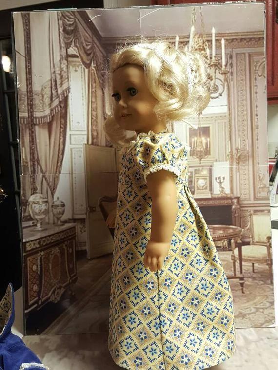 18 inch historical doll clothes Regency Blue & Gold will fit American Girl® 1800's Regency era spencer jacket OOAK C2 #historicaldollclothes