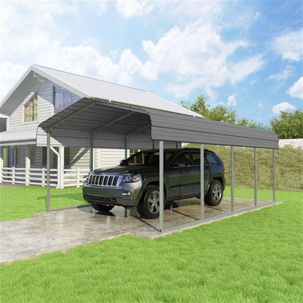 12'W x 20'L x 7'H Charcoal Single Car Carport by Versatube