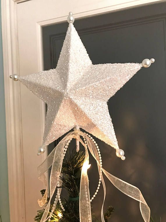 Christmas Tree Topper Star White Ivory Glittered Small Star ...