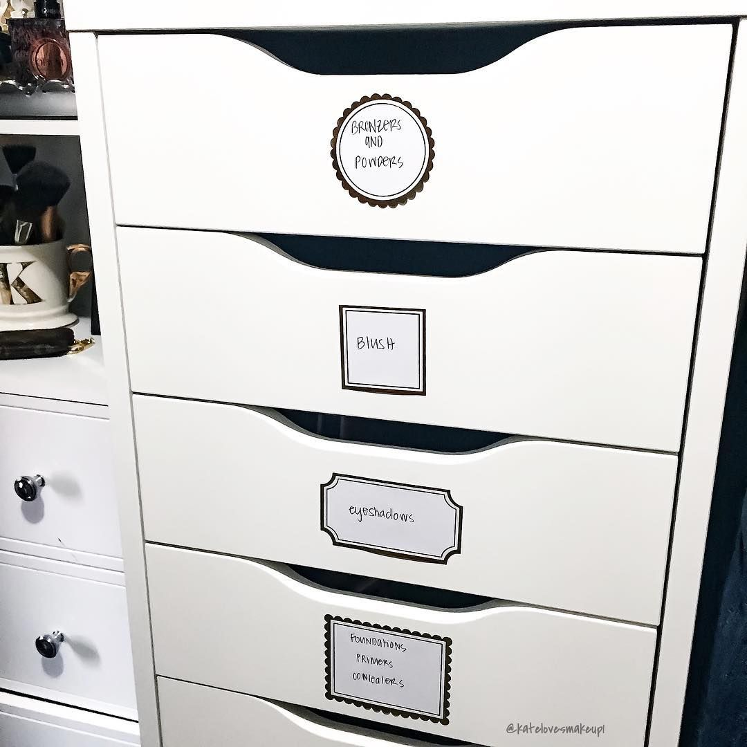 Makeup Storage Ideas Using Alex Drawers From Ikea Use Stickers To Label Your Drawers Kate Loves Makeup Storage And Organization Storage Makeup Storage