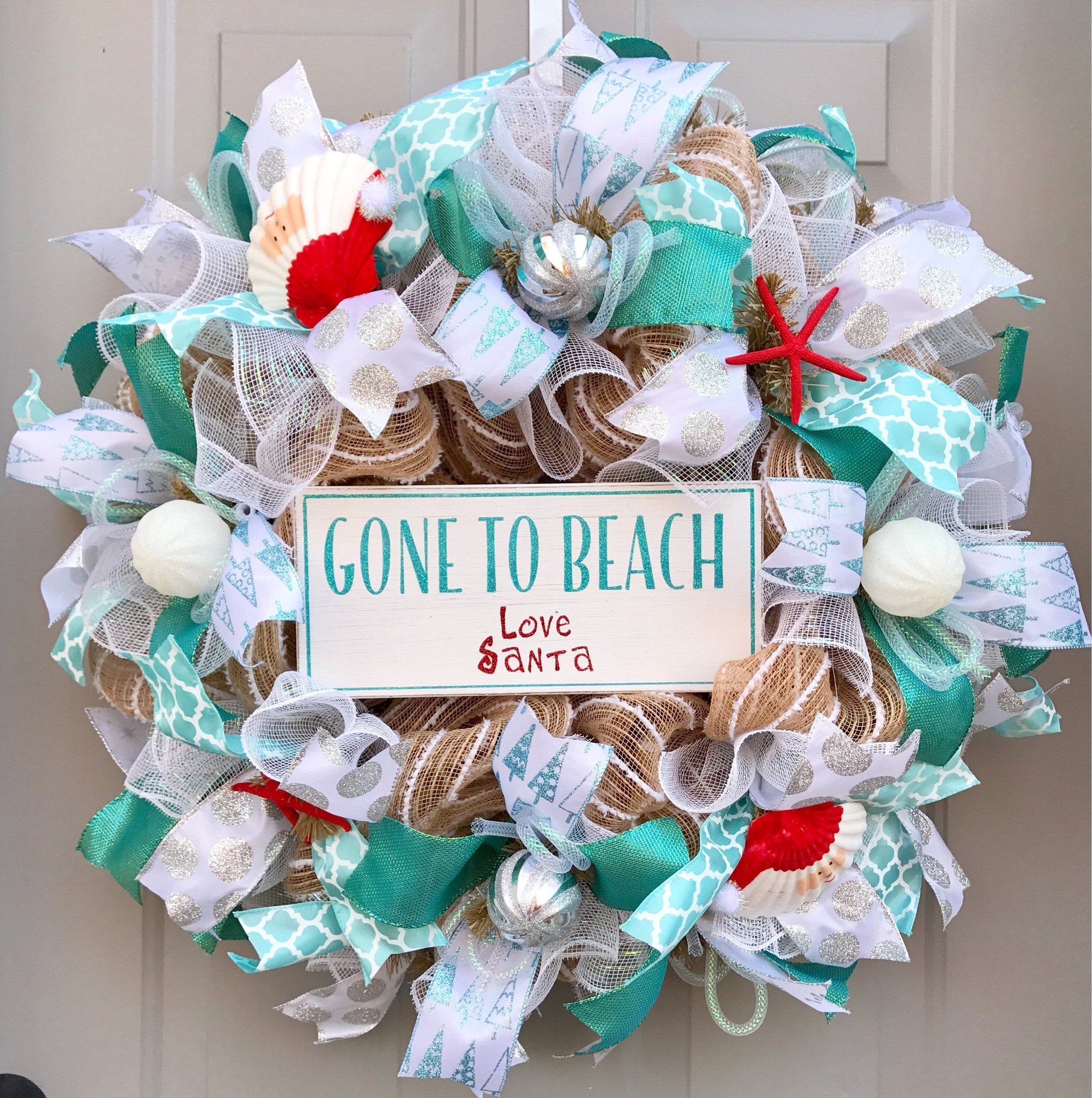 gone to beach love santa deco mesh wreath seashell wreath beach wrea beautifulmesh
