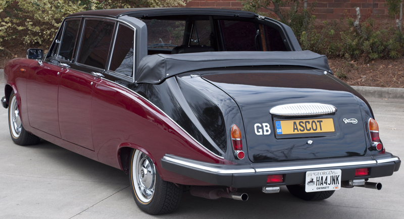 This Royal Daimler Limousine was the very last one produced by Jaguar making this vehicle extremely rare. Finished in the Royal colors of Masons Black over Regal Garnet, this actual car has been used by the Queen and several members of the British Royal family for outings to the ASCOT Horse track.