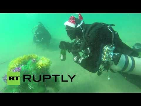 Only in Russia: Divers drink champagne, dance around New Year tree underwater — RT News