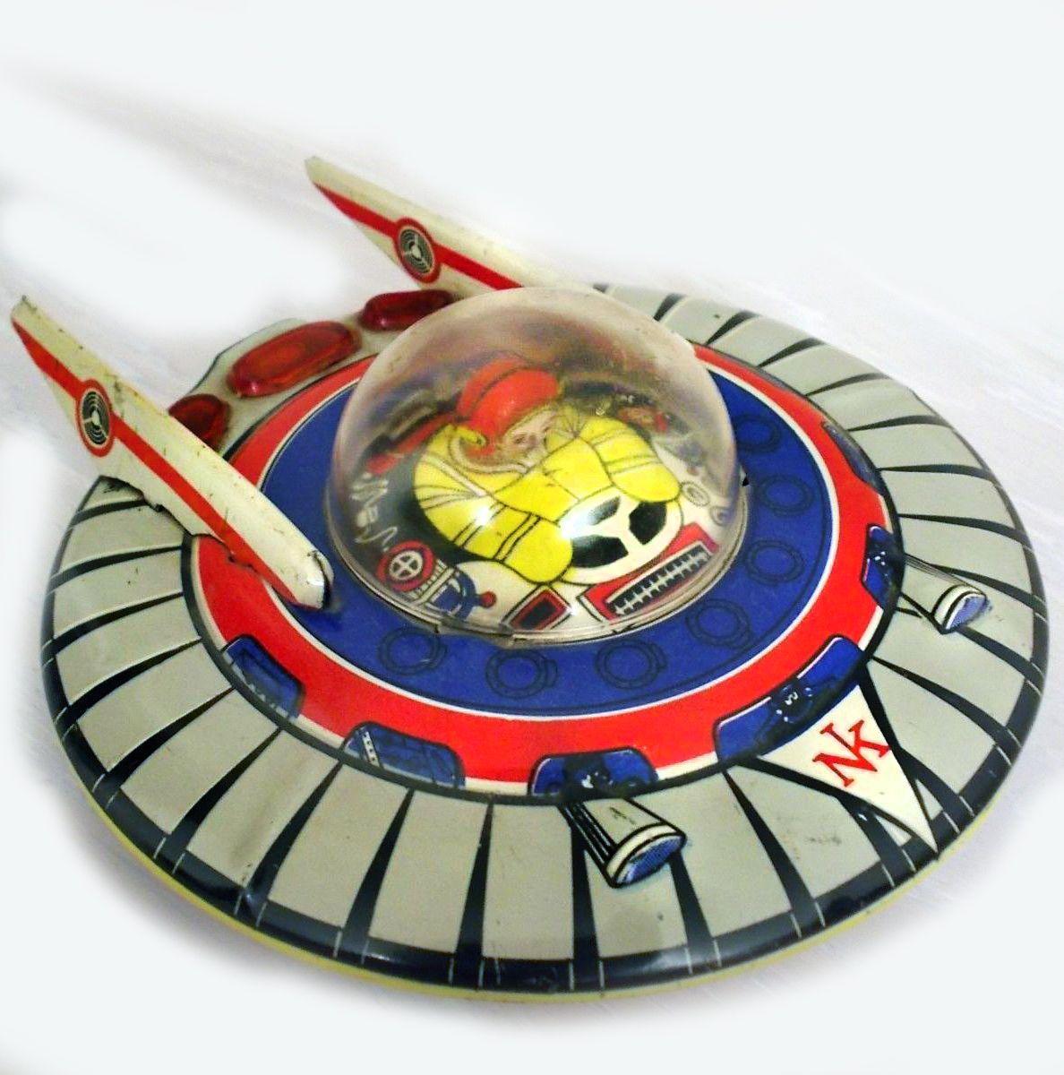 Vintage Turkish made Tin Flying Saucer Toy. More primitive