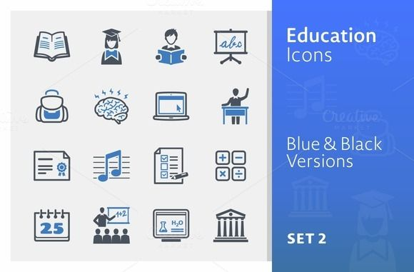 Education Icons Set 2 Blue Series By Graphicsauthor Education