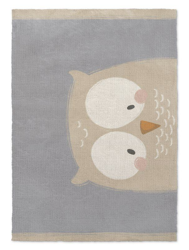 Alzado Owl Gray Cream Area Rug Plush Area Rugs Owl Rug
