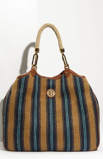 Tory Burch 'Channing' Stripe Burlap Tote | Nordstrom - StyleSays