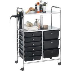 Photo of Bathroom trolley Marita hairdressing trolley with 9 drawers, black Idimex