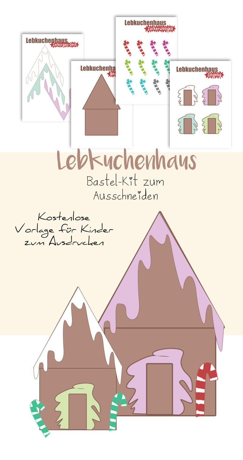 Lebkuchenhaus Vorlage zum Basteln mit Kindern ausdrucken ...