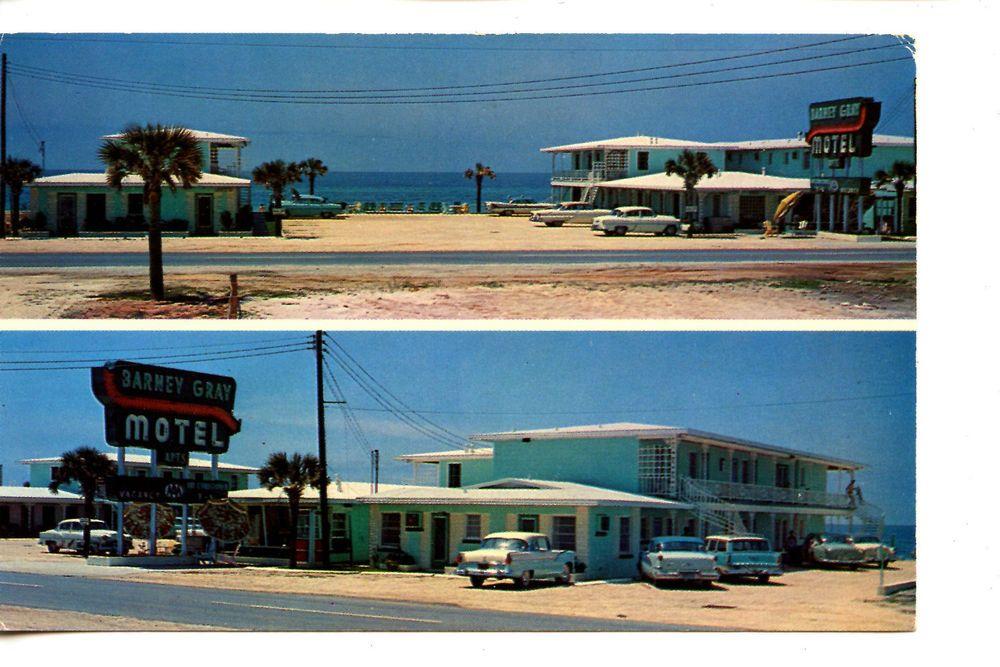 Barney Gray Beach Motel Old Car Panama City Florida Vintage Advertising Postcard Panama City Panama Panama City Florida Panama City Beach Fl
