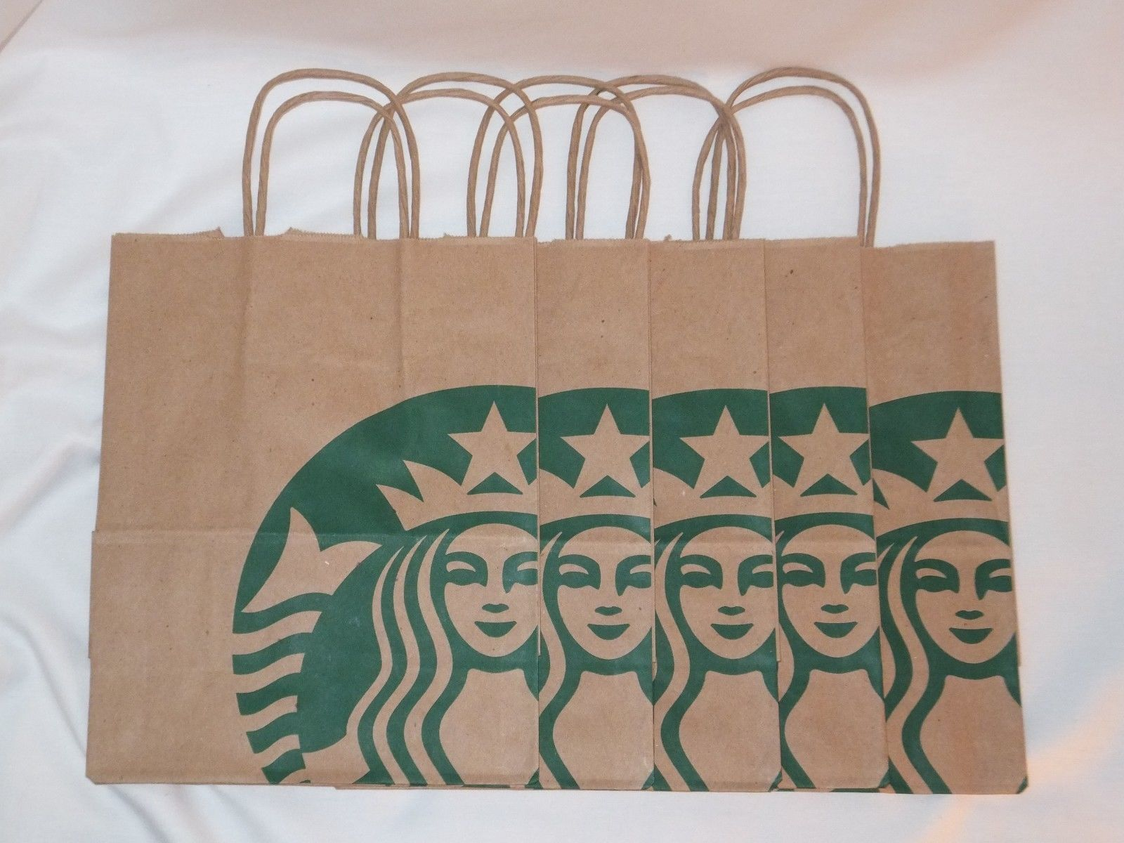 10x starbucks reusable brown kraft paper shopping lunch gift bags 10 starbucks reusable brown paper bags with handles green tissue paper used only for jeuxipadfo Choice Image