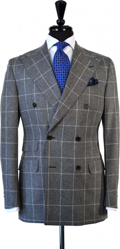 3111693ad7 Double Breasted Windowpane Flannel Suit