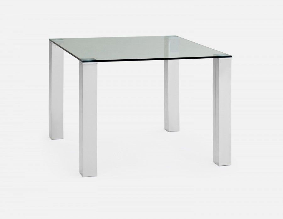 Macao Square Glass And Stainless Steel Dining Table Chrome Stainless Steel Dining Table Dining Table In Kitchen Modern Dining Table