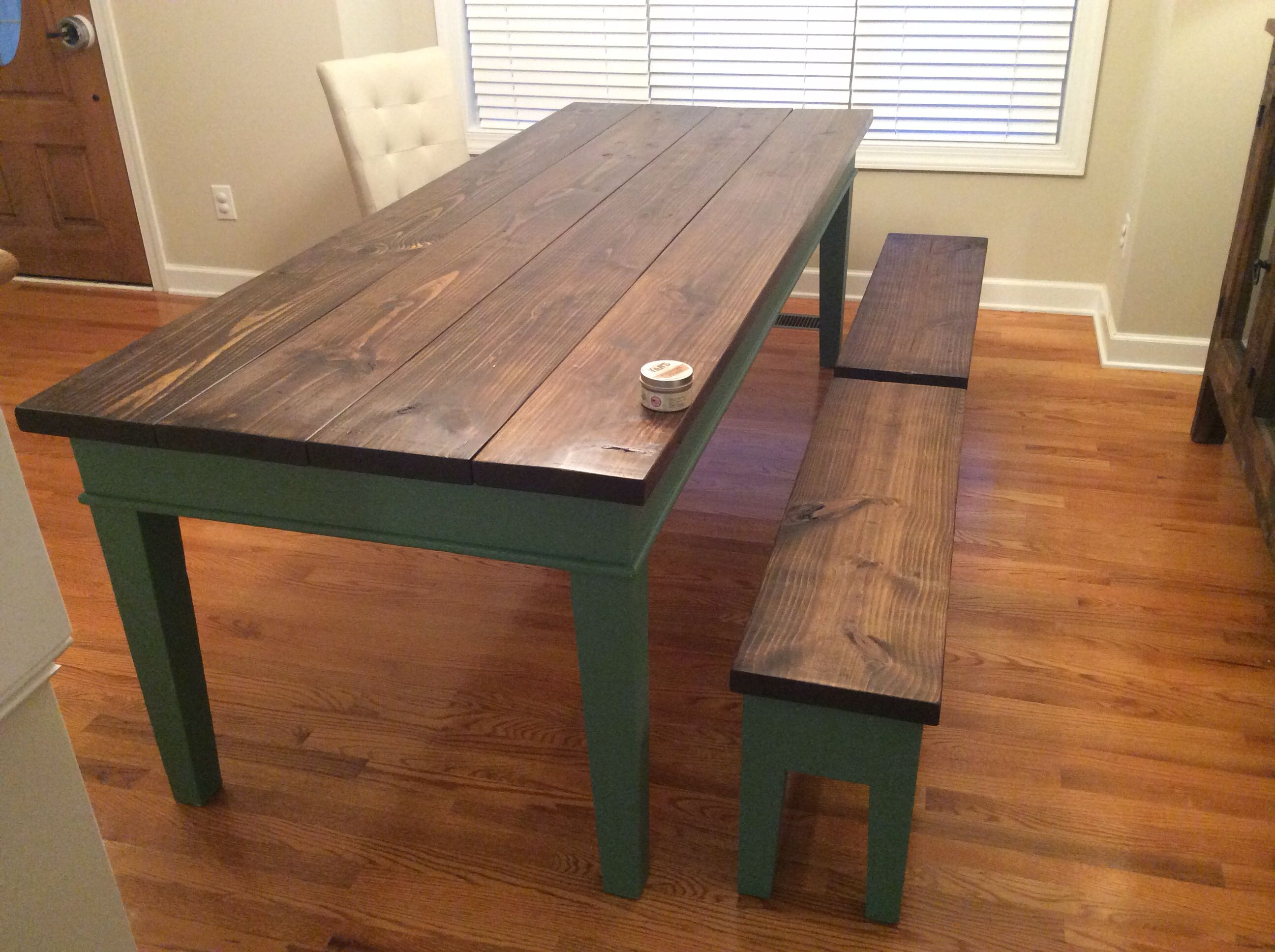 Finished farm table. Pine top distressed and burned