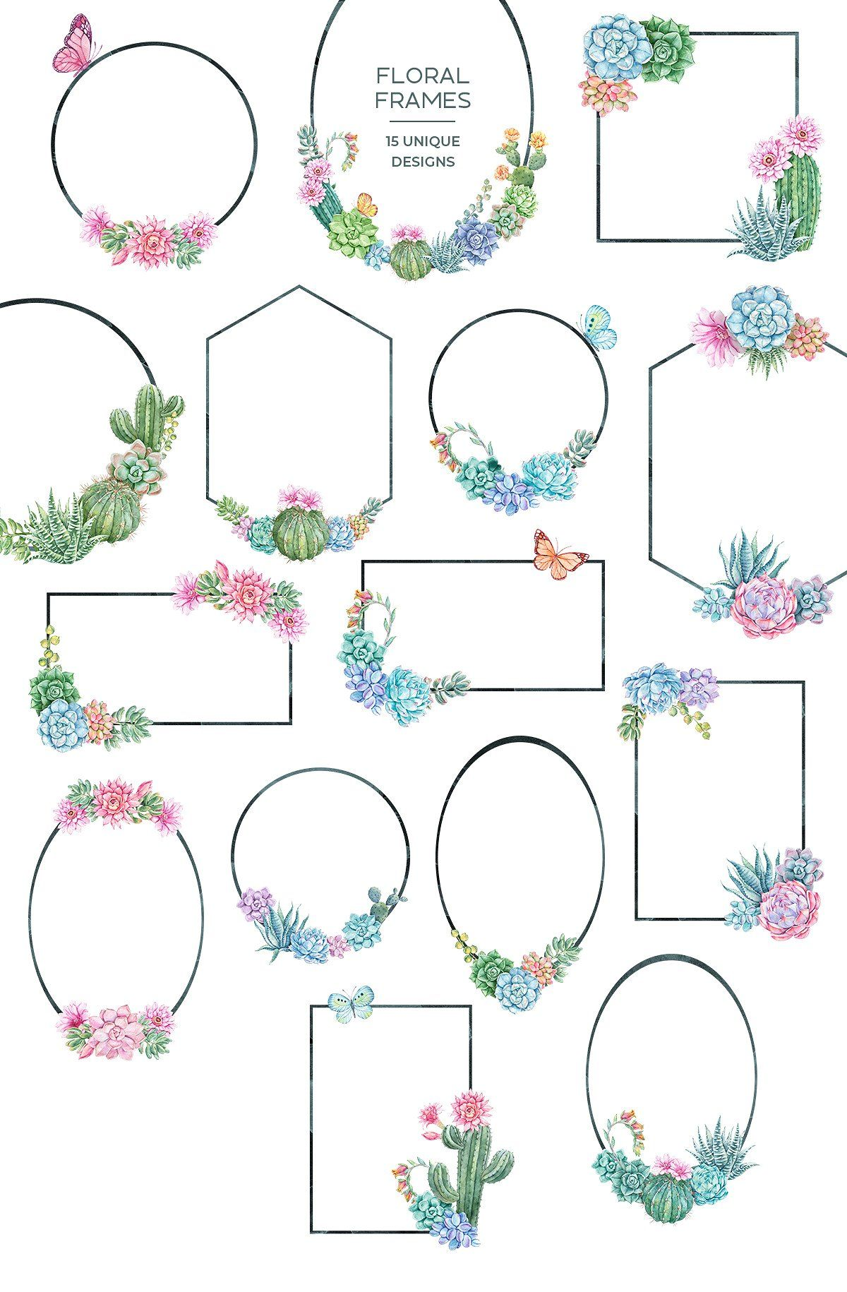 Succulent Dreams Watercolor Florals by Tugcu Design Co. on