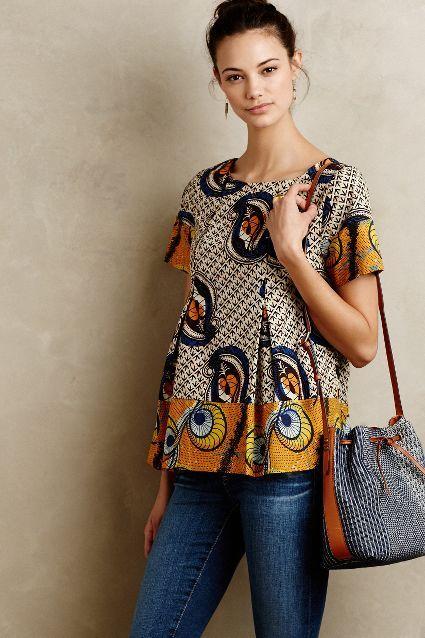 Kora Blouse - anthropologie.com ~Latest African Fashion, African Prints, African fashion styles, African clothing, Nigerian style, Ghanaian fashion, African women dresses, African Bags, African shoes, Nigerian fashion, Ankara, Kitenge, Aso okè, Kenté, brocade. ~DKK