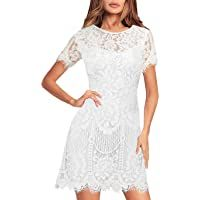 MSLG Women's Elegant Round Neck Short Sleeves V-Back Floral Lace Cocktail Party A Line Dress 910 #cocktailpartydresses