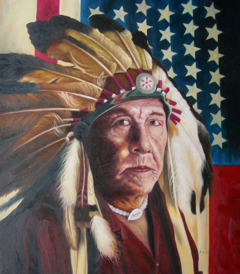 Native American Healing Herbs Plants: NATIVE AMERICA INDIAN CHIEF AMERICAN FLAG OIL PAINTING
