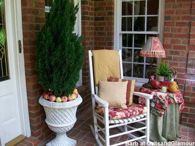 Front porch on pinterest small front porches front for Front porch table ideas