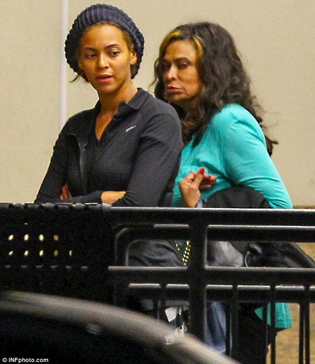 Show of support: Beyonce was accompanied by her mother Tina Knowles who looked more glamorous than her daughter in a bright turquoise top