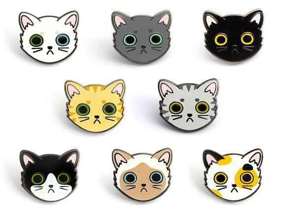 Calico Cat Face Enamel Pin Calico Cat Pin Cute Cat Hard Tabby Cat Cat Lovers Grey Tabby Cats