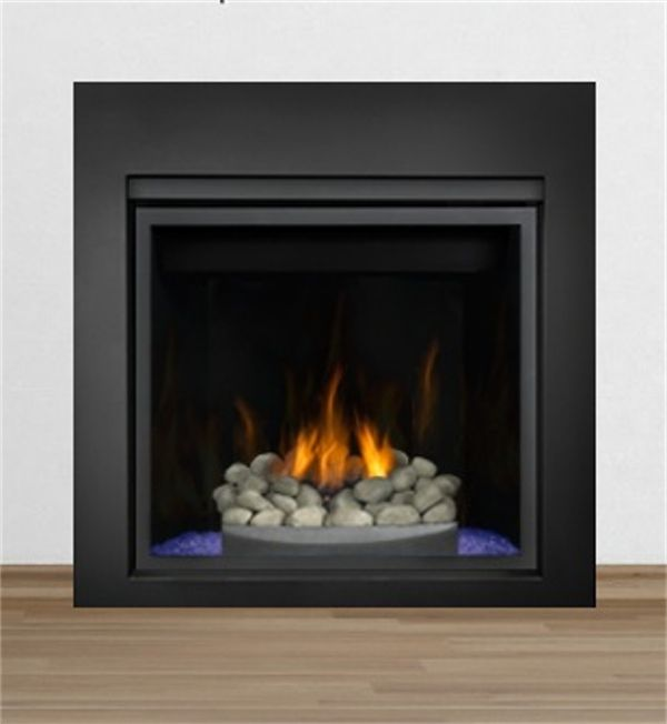 Hd Fireplace With River Rock On Blue Fire Glass With Black 4 Side