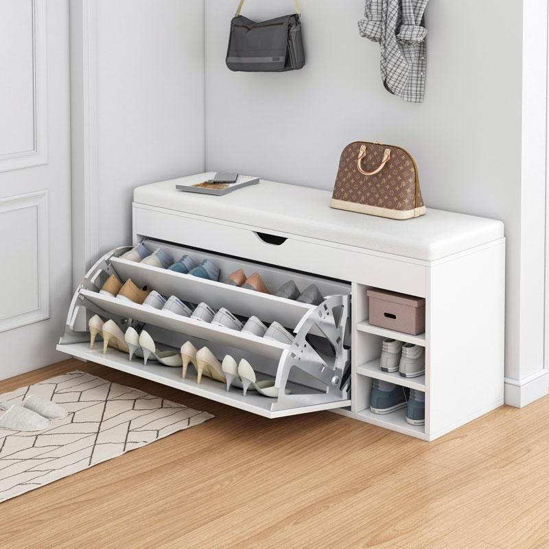 Wooden Shoe Bench Tipping Bucket Shoe Cabinet with Seat Cushion - White / 39.4*13.4*19.7in
