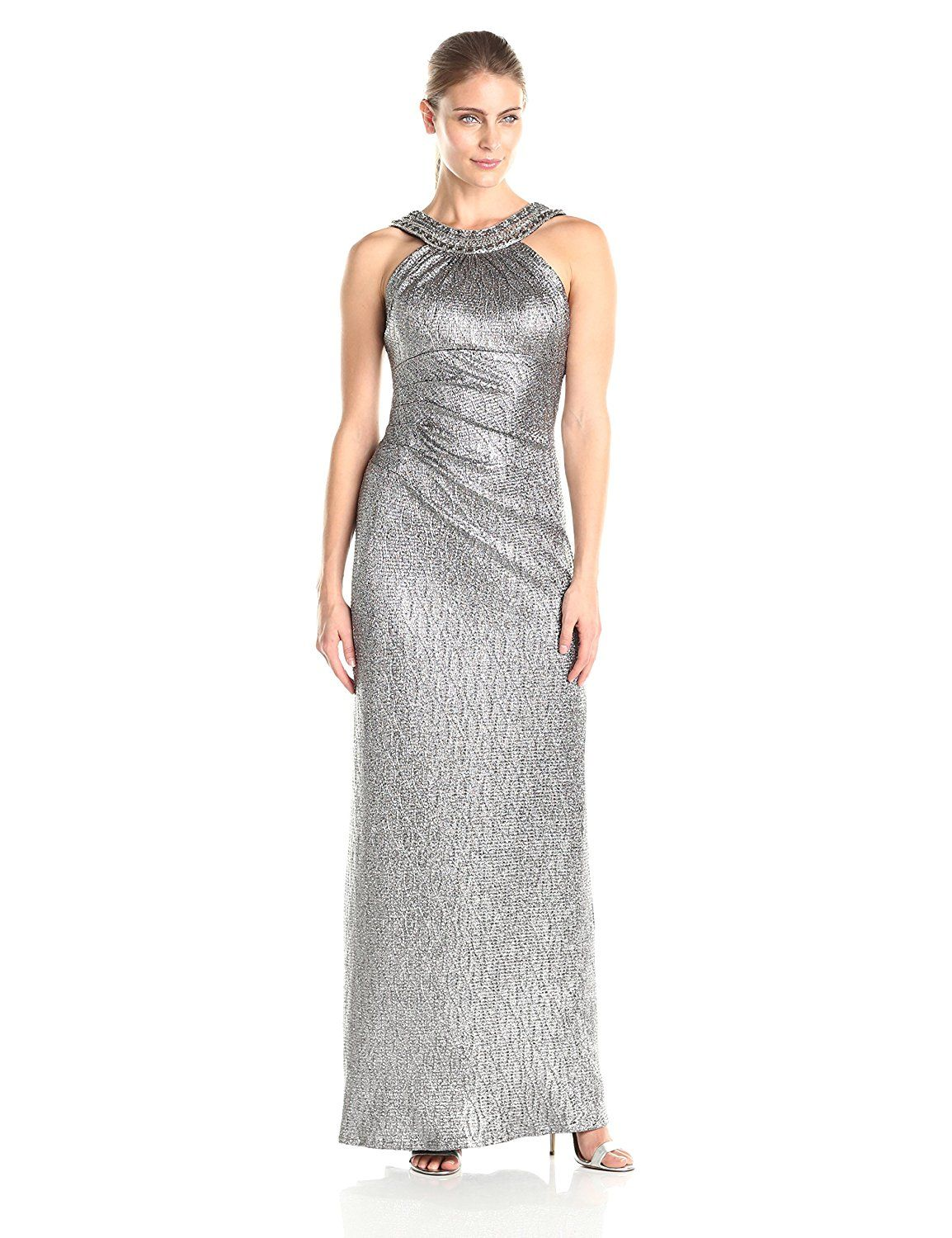 c6e0a664 Xscape Women's Long Side Ruch Metallic with Bead Neck and U-Back ** Review  more details here : formal dresses
