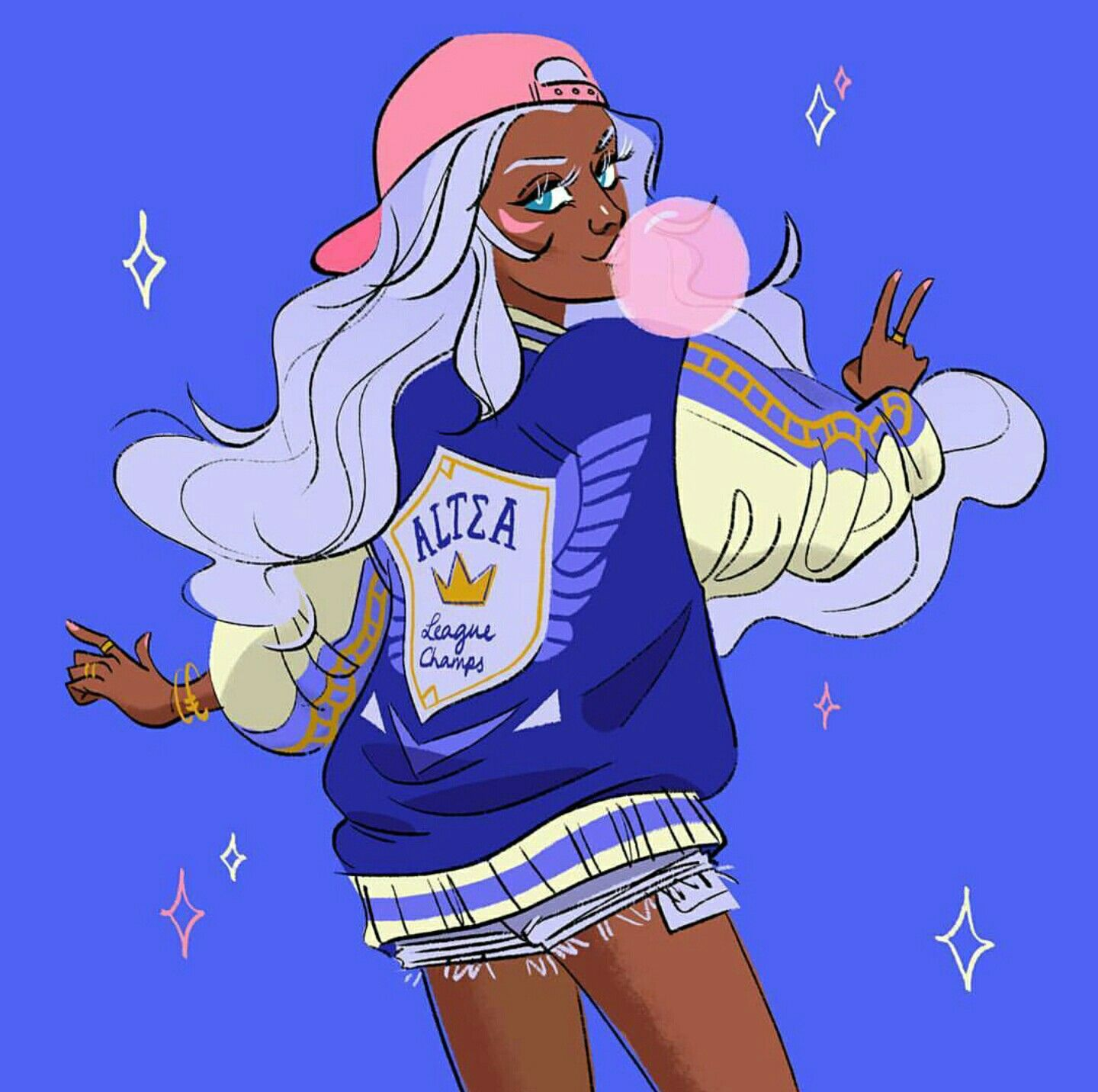 Modern Princess Allura blowing pink bubble gum from ...