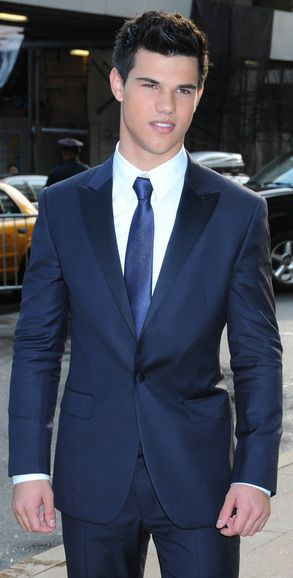 Taylor Lautner - blue satin covered peak lapel suit in blue | I Do ...