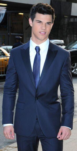 Taylor Lautner - blue satin covered peak lapel suit in blue | I Do ...
