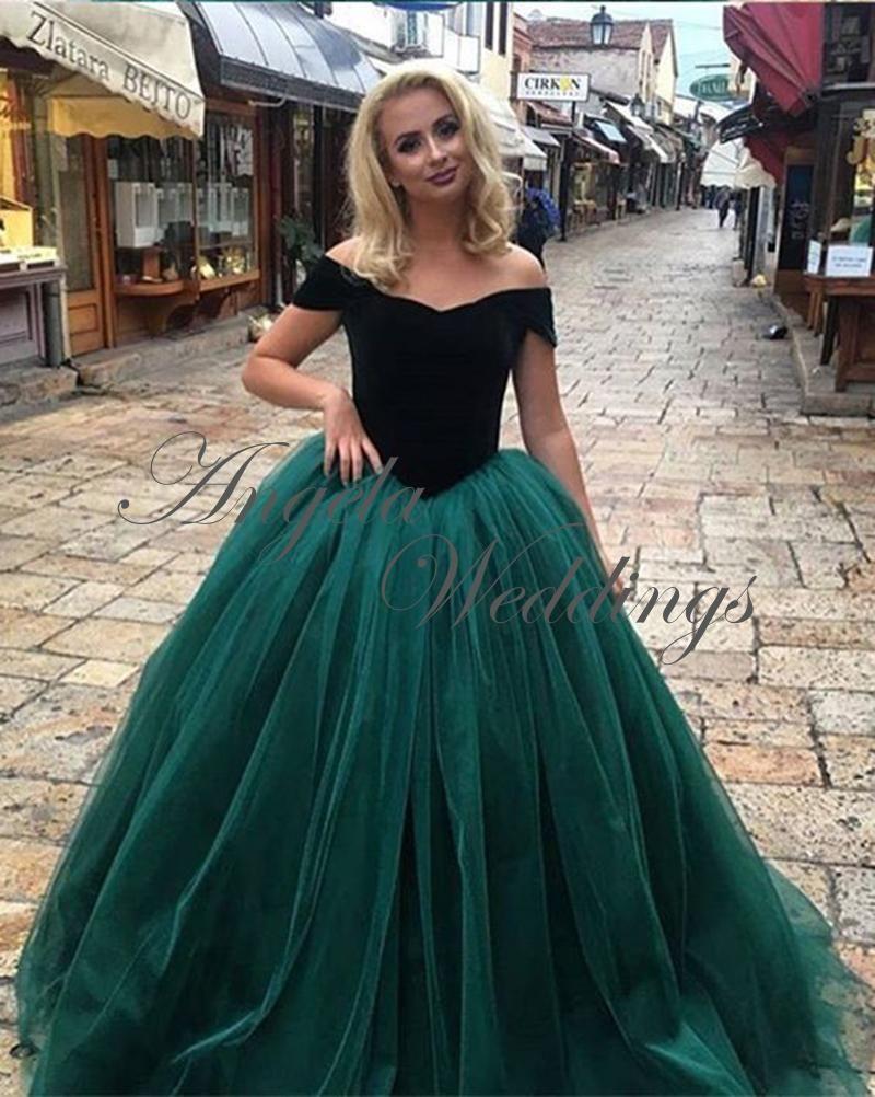 0bd60f396601 Dark Green Velvet Tulle Ball Gown Prom Dresses Ball Gown 2018 | Prom ...